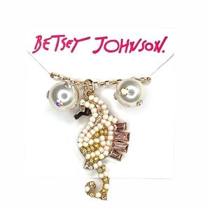 Betsey Johnson Seahorse Necklace and Earrings